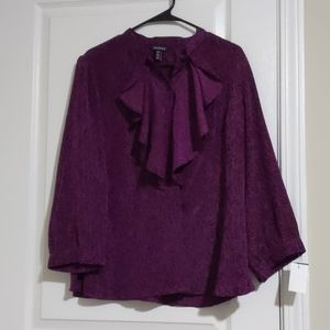Button down blouse with ruffled neck